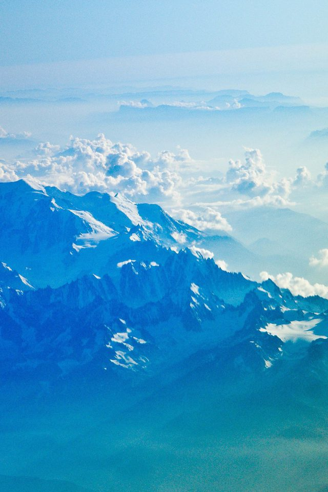 Mountain Snow Winter Blue White Nature Cloud Android wallpaper