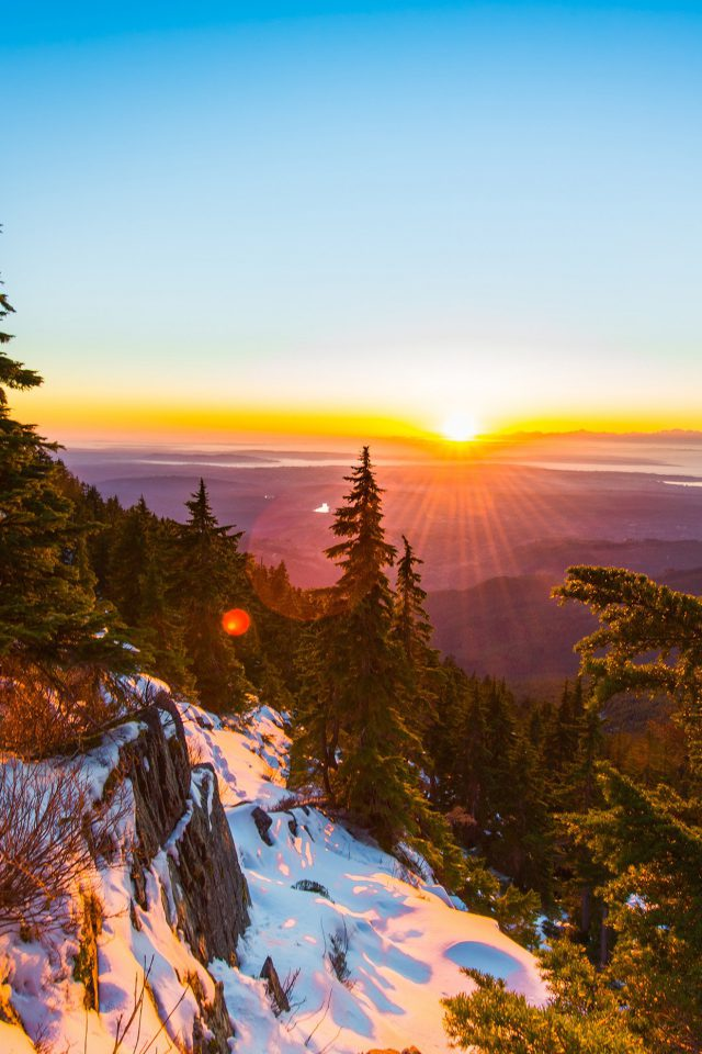 Mountain Snow Winter Sunset Wood Nature Android wallpaper