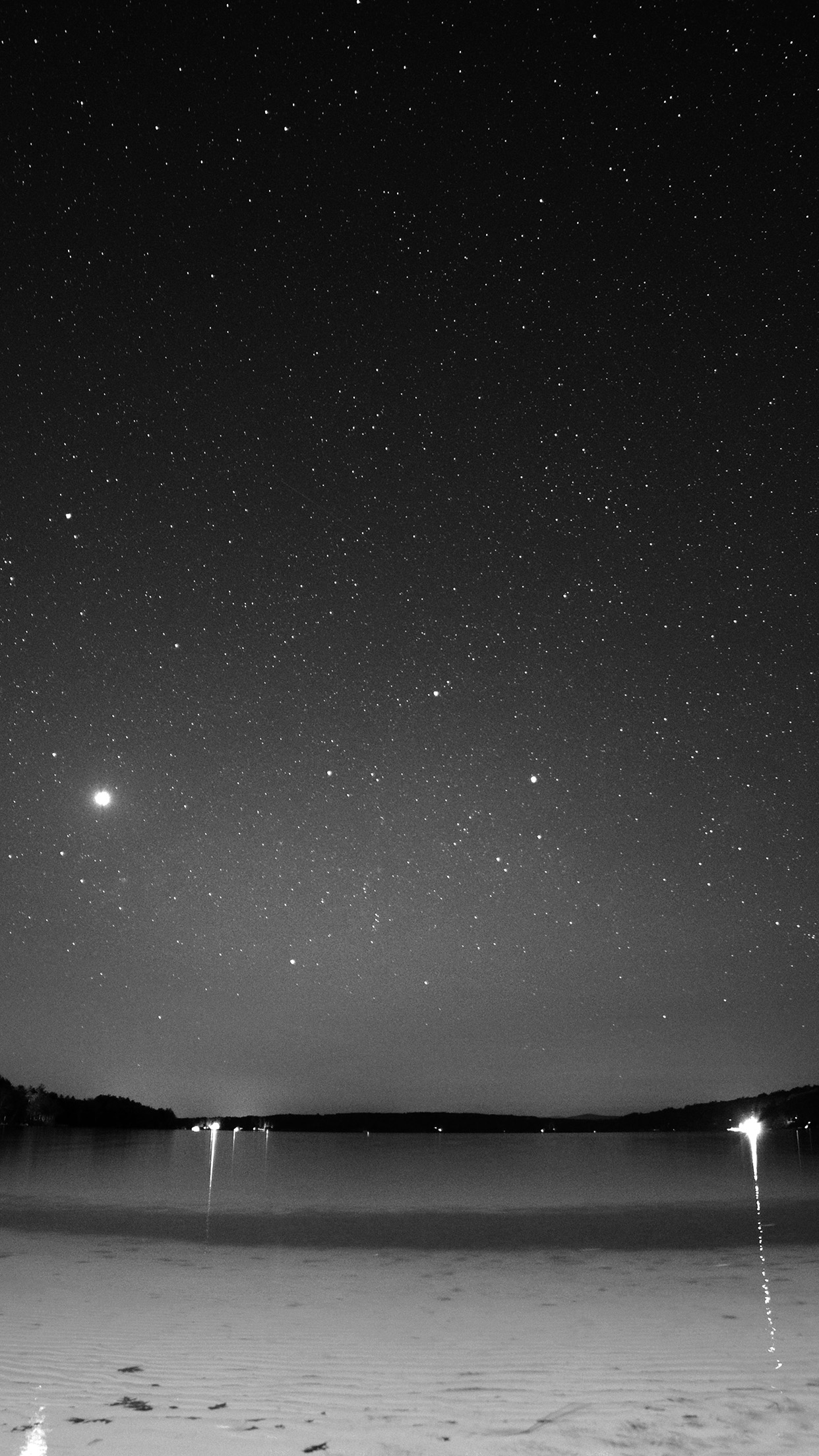 Night Beach Sea Vacation Nature Star Sky Dark Bw Android wallpaper
