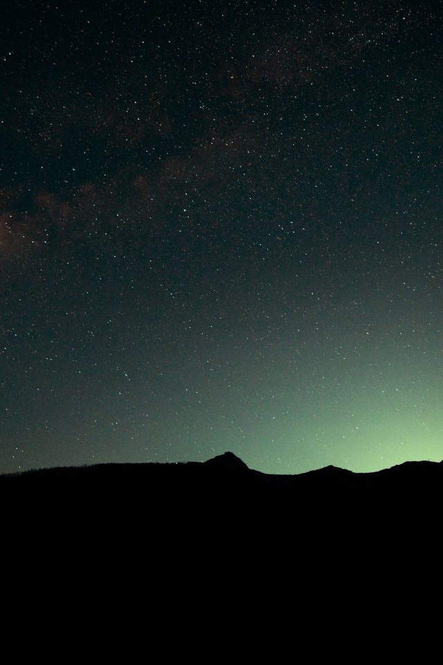 Night Sky Green Wide Mountain Star Shining Nature Android wallpaper