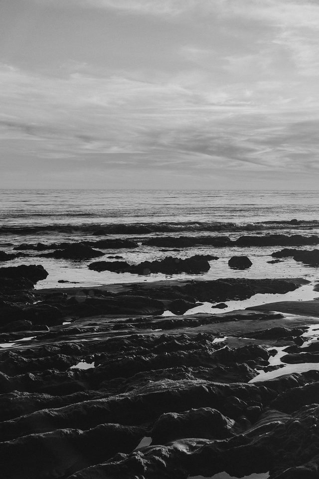 Ocean Sea Water Sky Sunset Afternoon Nature Dark Bw Android wallpaper
