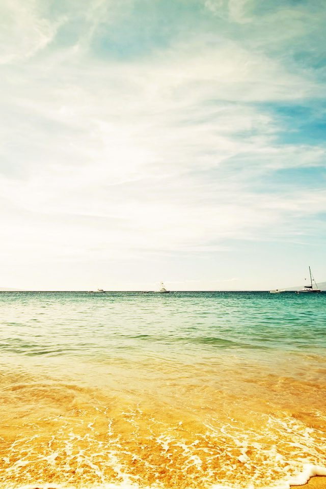Ocean Sea Yellow Beaches Boat Nature Android wallpaper