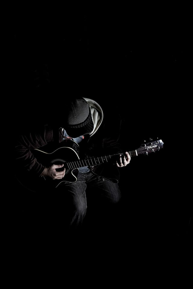 Out The Dark Guitar Player Music Android wallpaper