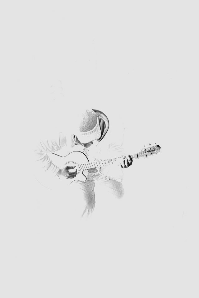 Out The Dark Guitar Player Music White Android wallpaper
