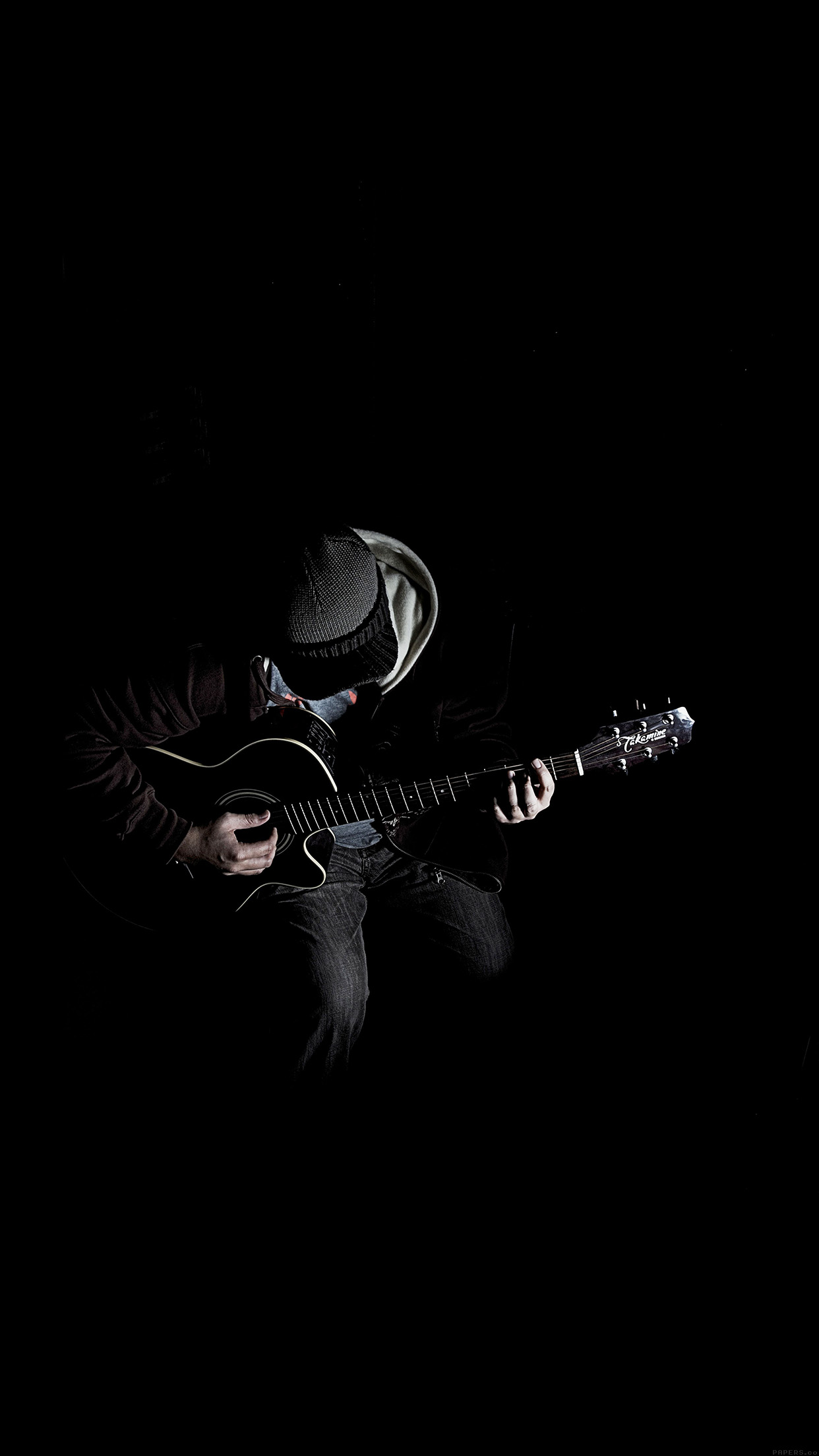 out the dark guitar player music android wallpaper - android hd
