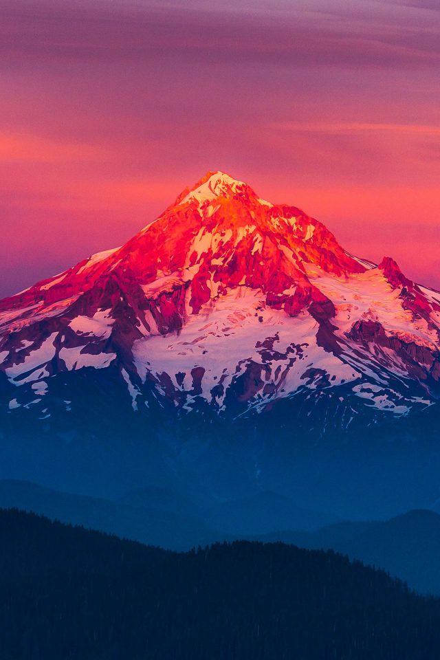 Purple Sunset Snow Mountain Nature Android wallpaper