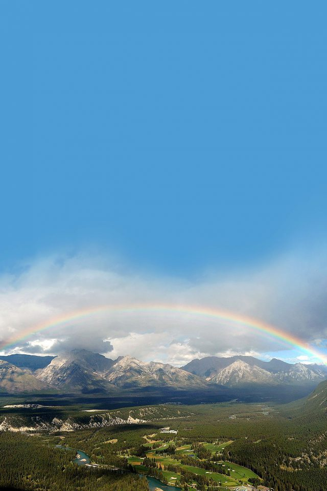 Rainbow Town Mountain Nature Android wallpaper