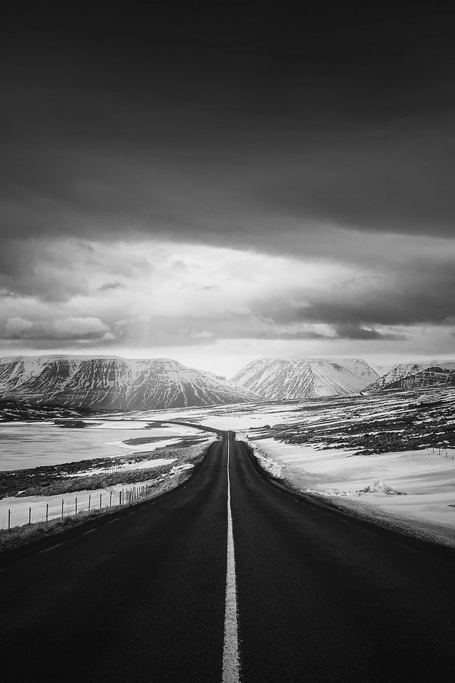 Road To Heaven Snow Mountain Bw Dark Nature Winter Android wallpaper