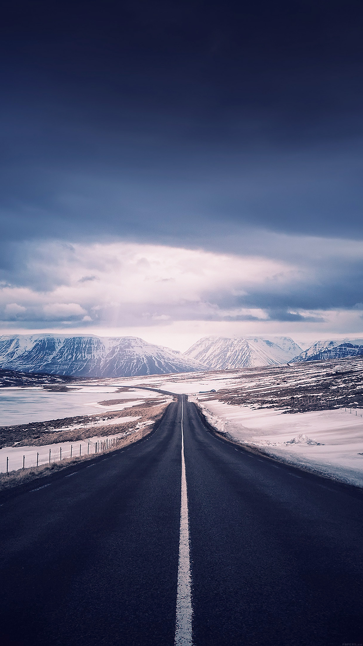 Road To Heaven Snow Mountain Nature Winter Android Wallpaper