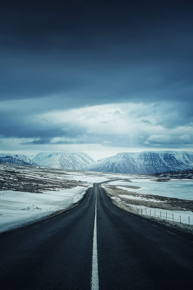 Road To Snow Mountain Nature Winter Android wallpaper