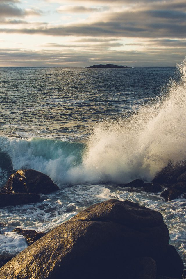 Rock Wave Nature Sea Cold Android wallpaper