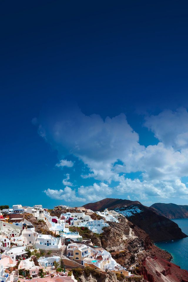 Santorini Sunny Day Greece Sea Nature Android wallpaper