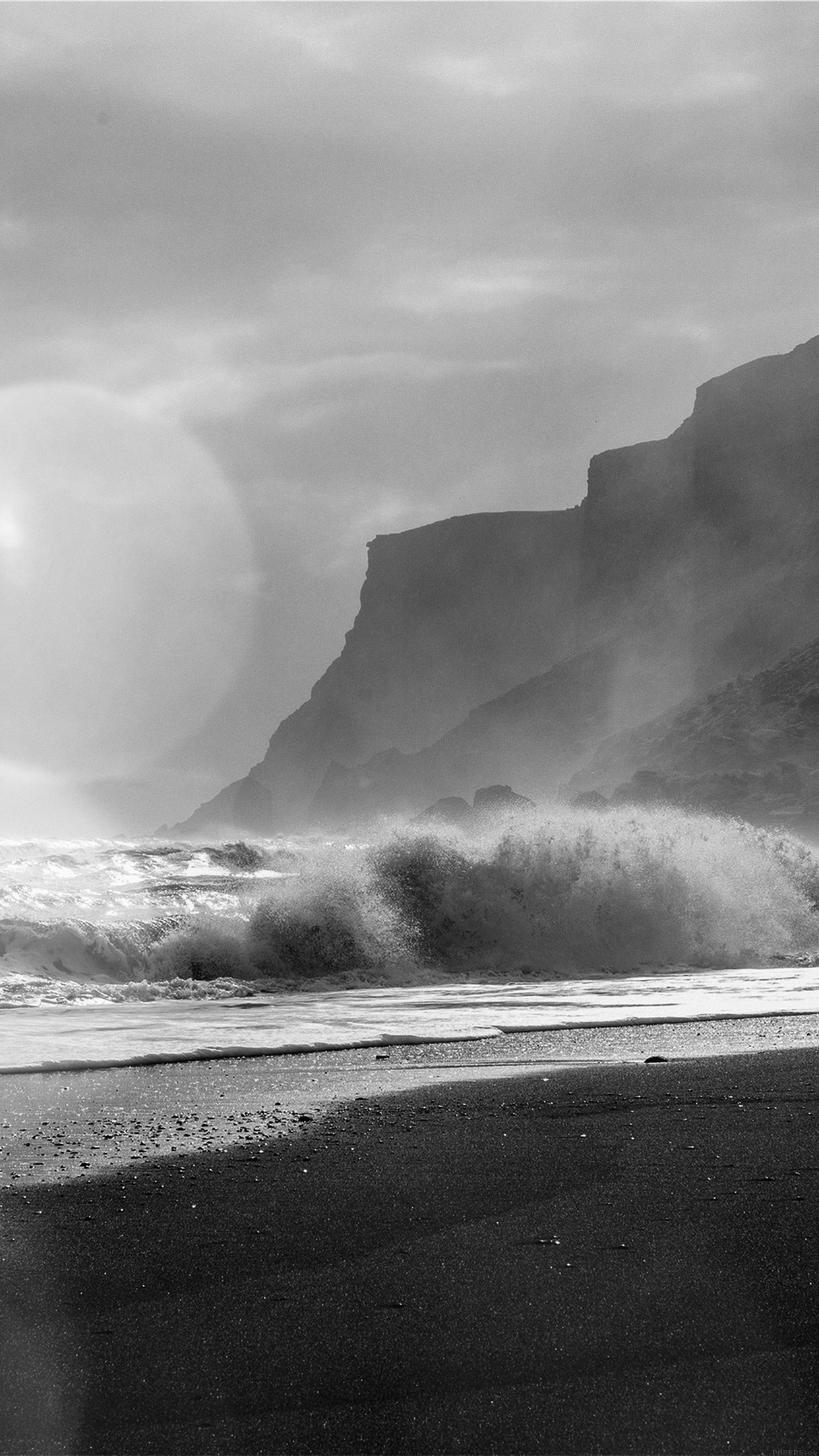 Sea Beach Nature Dark Bw Flare Android wallpaper