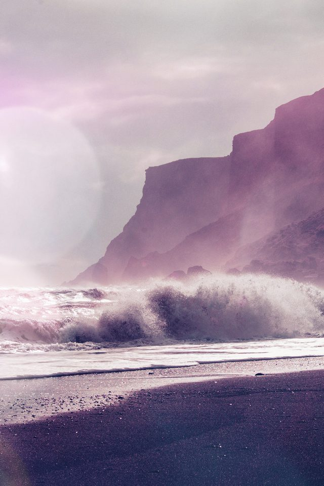 Sea Beach Nature Purple Flare Android wallpaper