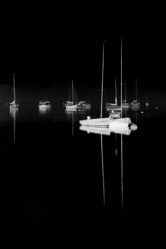 Sea Port Boats Bw Dark Nature Minimal Android wallpaper