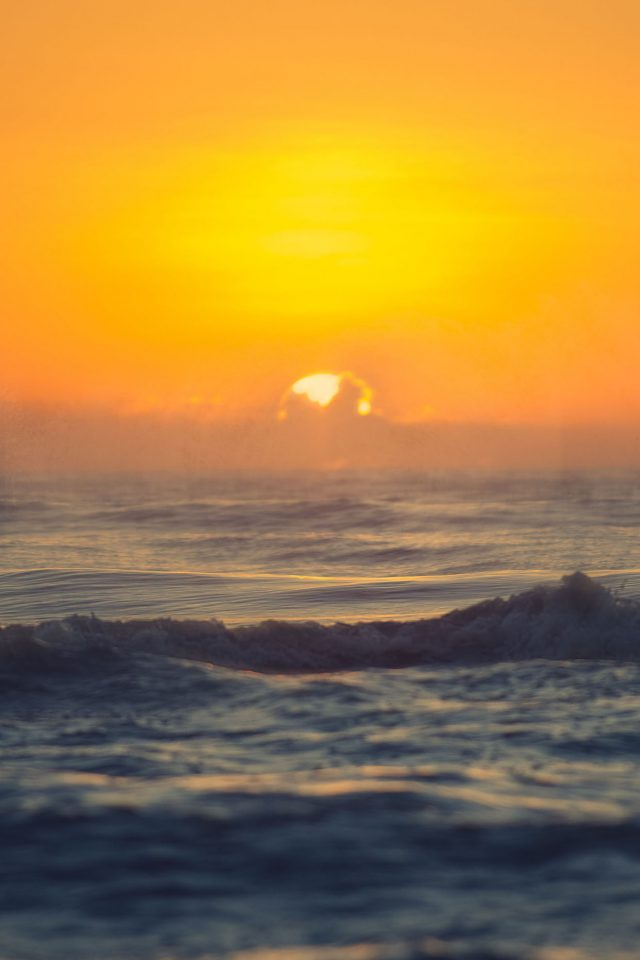 Sea Spray Sunset Ocean Water Nature Android wallpaper