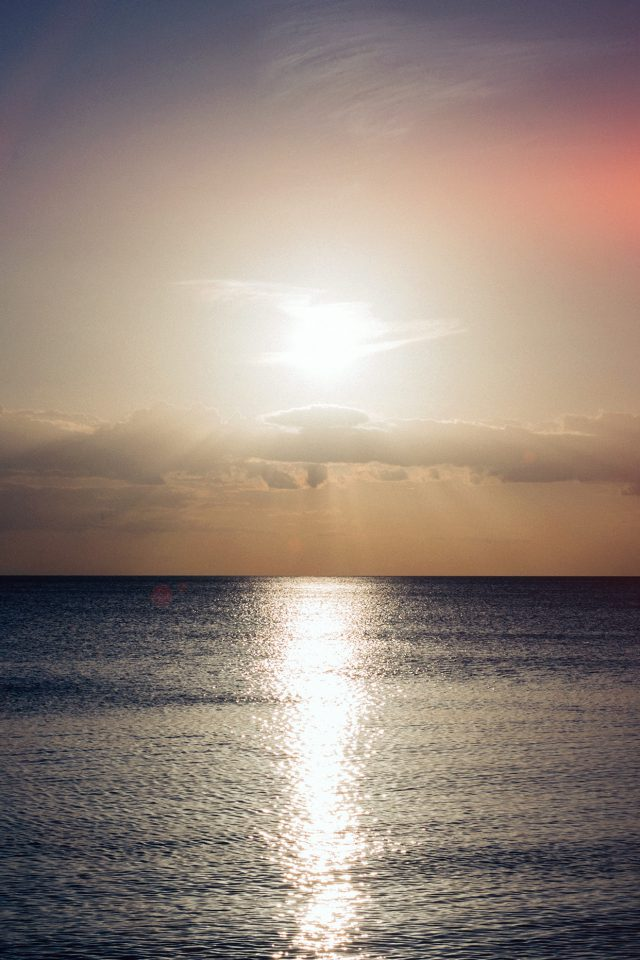 Sea Sunset Sky Ocean Water Nature Red Flare Android wallpaper