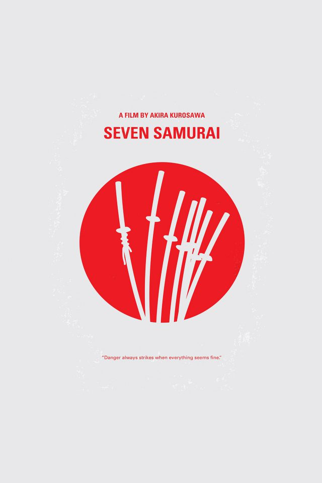 Seven Samurai Film Minimal Art Illustration Android wallpaper