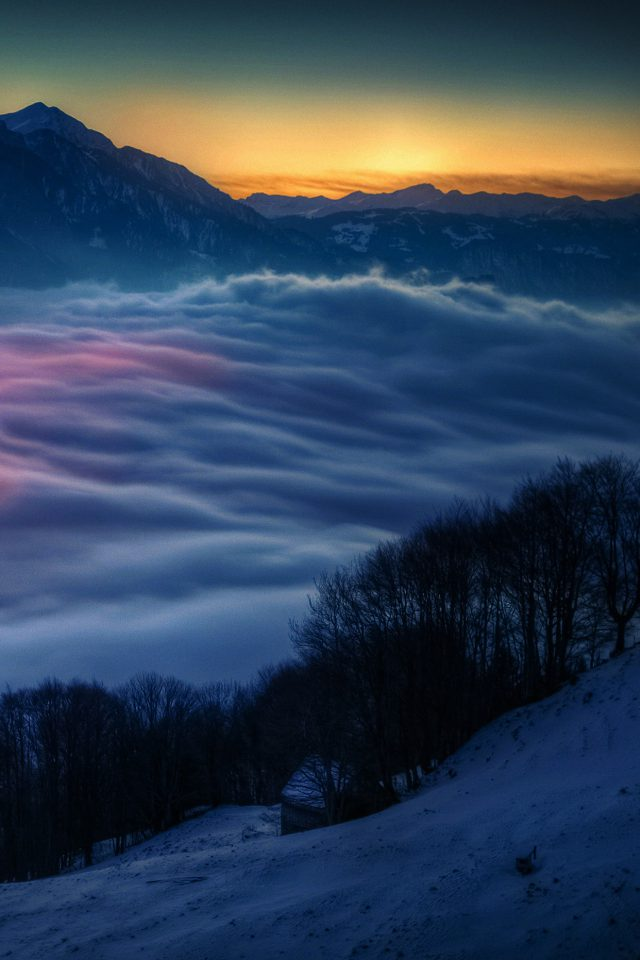 Smoky Foggy Mountain Sunrise From Sky Nature Android wallpaper