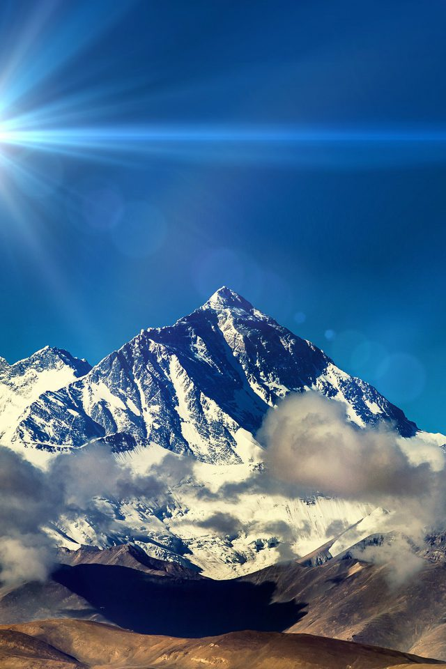 Snow Solo Mountain High Nature Blue Flare Android wallpaper