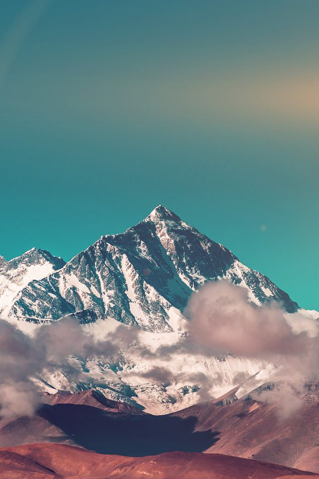 Snow Solo Mountain High Nature Green Android wallpaper