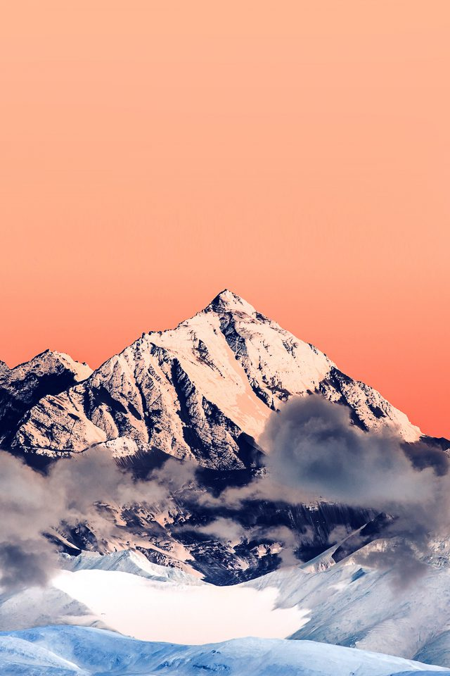 Snow Solo Orange Mountain High Nature Android wallpaper
