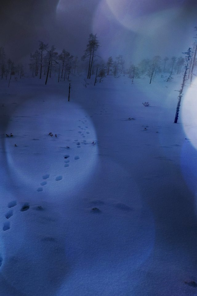 Snow Walk Winter Dark Blue Bokeh Footprints Nature Mountain Android wallpaper