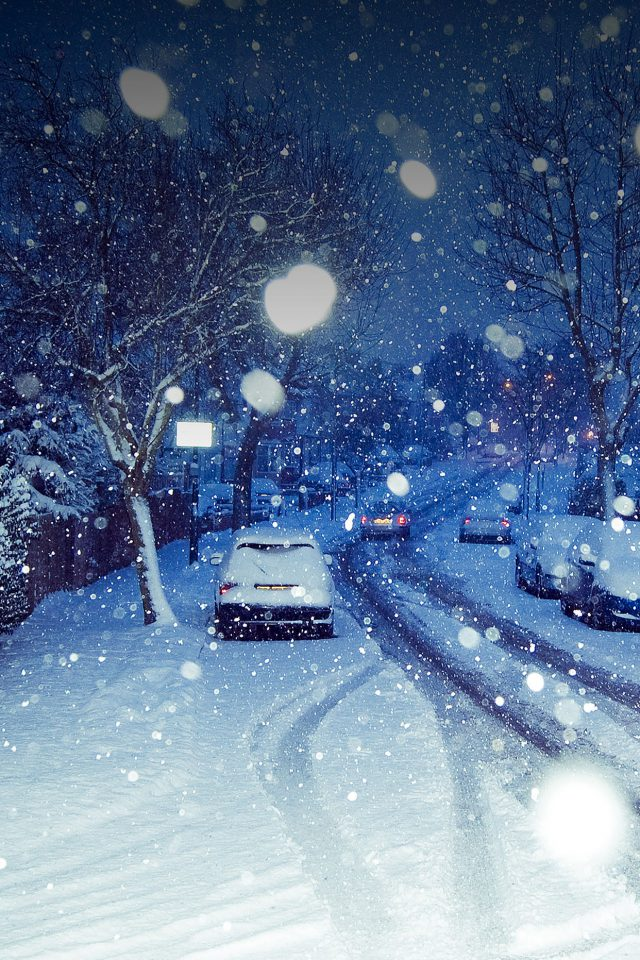 Snowy Blue Road Winter Nature Android wallpaper
