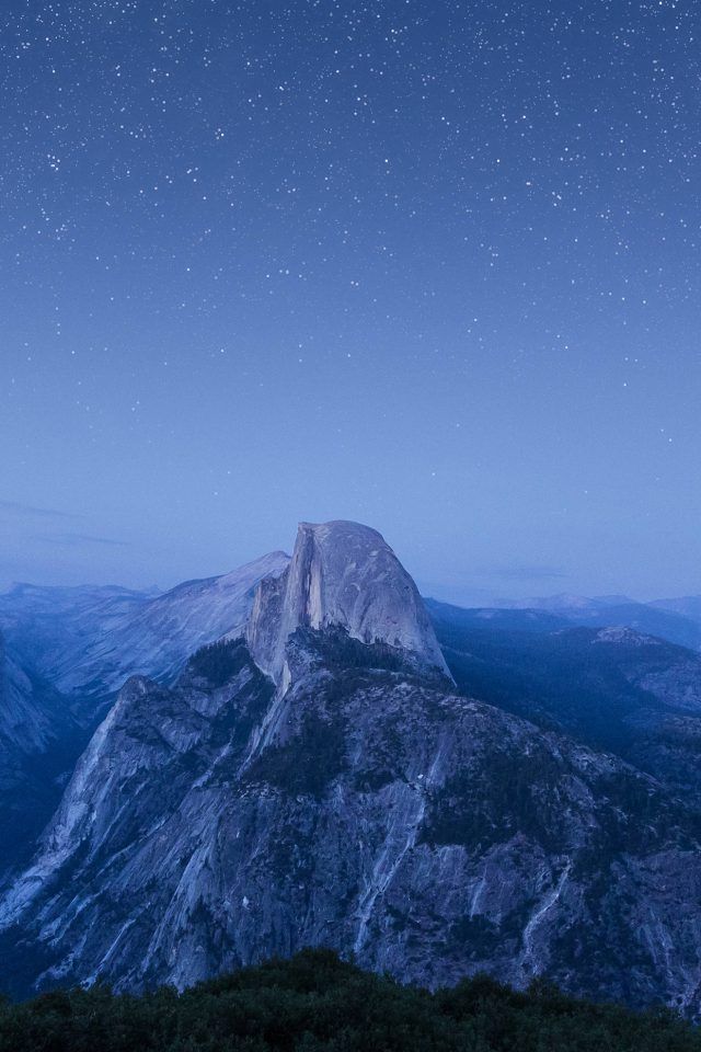 Starry Night Blue Summer Mountain Nature Awesome Android wallpaper