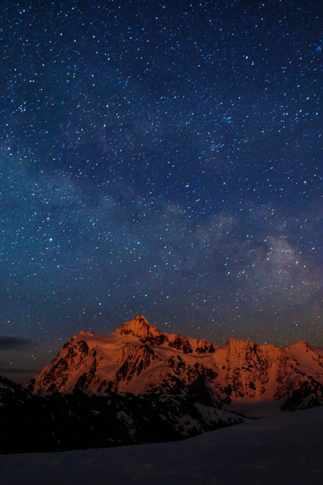 Starry Night Sky Mountain Nature Android wallpaper