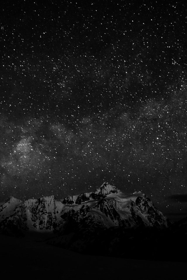 Starry Night Sky Mountain Nature Bw Dark Android wallpaper