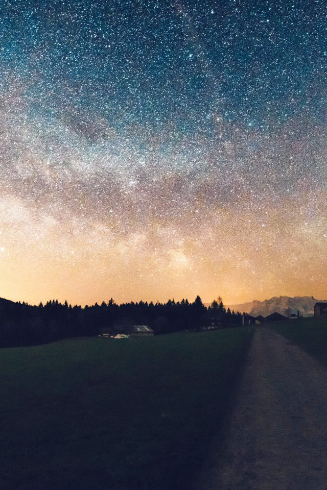 Starry Sky Nature Sunset Mountain Road Android wallpaper