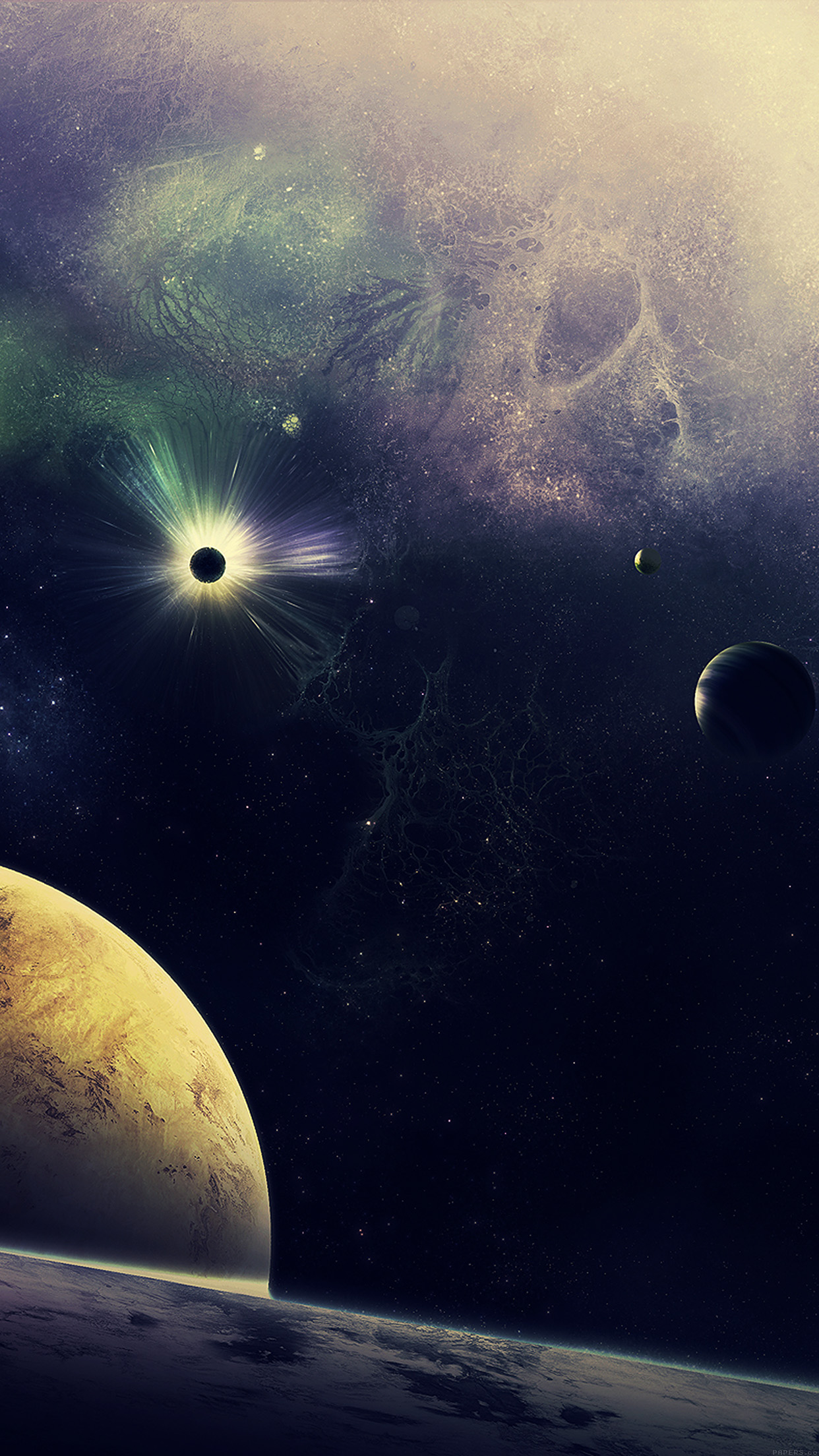 Stars Planets Lost Blue Art Nature Android wallpaper