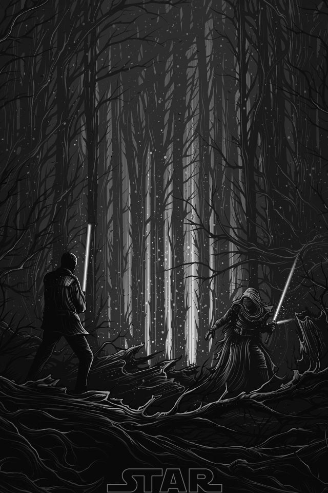 Starwars Illustration Bw Dark Art Film Android wallpaper