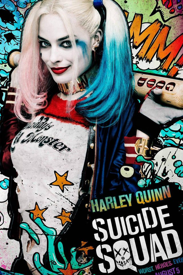 Suicide Squad Film Poster Art Illustration Joker Haley Quinn Android wallpaper