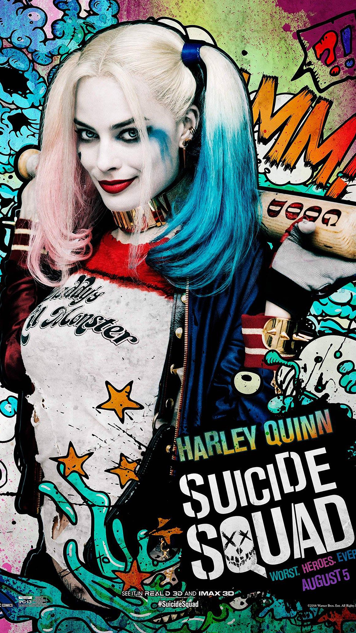Suicide Squad Film Poster Art Illustration Joker Haley Quinn Android