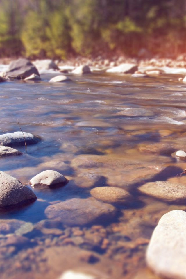 Summer Rocks River Lake Nature Mountain Flare Android wallpaper