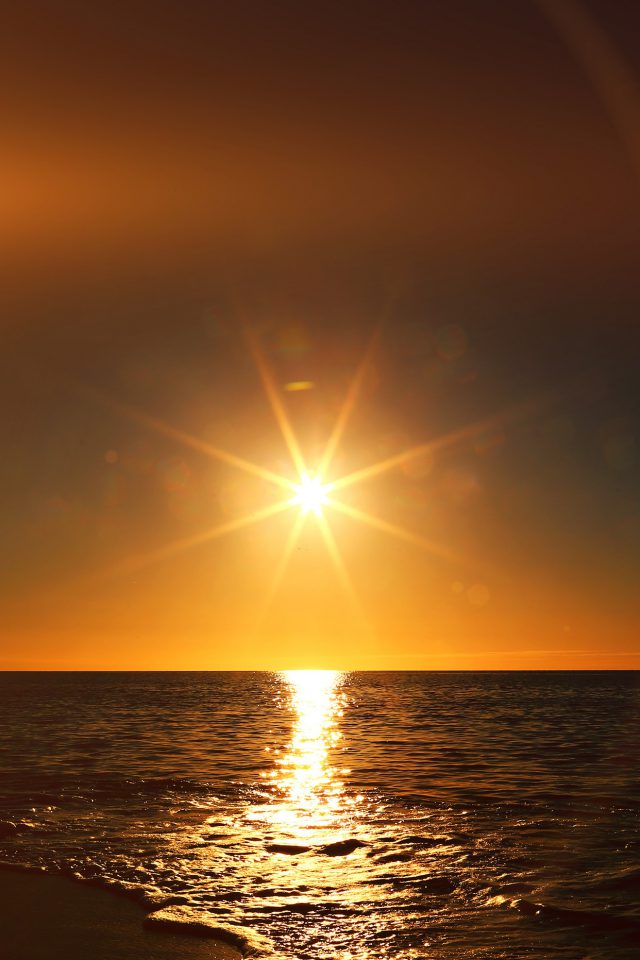 Sunset Beach Sea Nature Sky Flare Android wallpaper