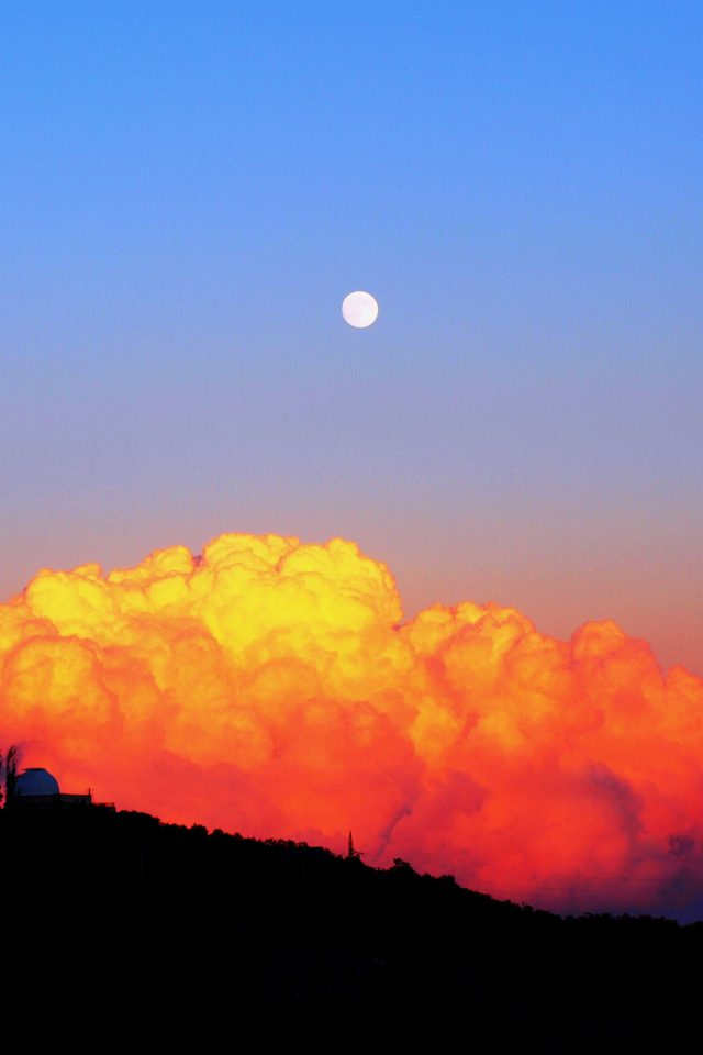 Sunset Mountain Sky Nature Cloud Red Android wallpaper