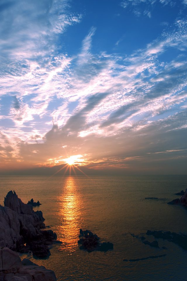 Sunset Sky Cloud Sea Rock Bridge Nature Android wallpaper