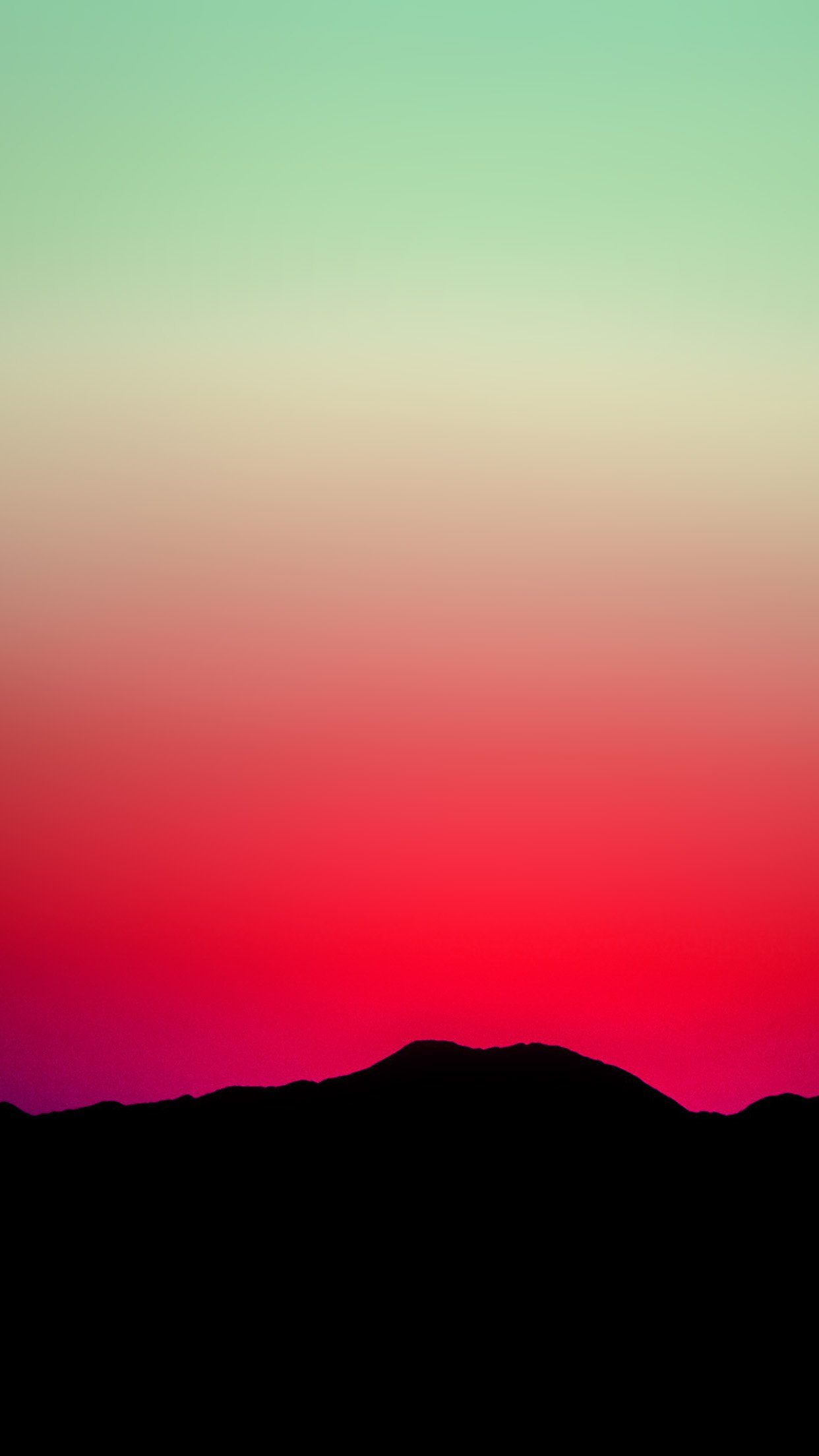 Sunset Sky Minimal Nature Red Green Android wallpaper