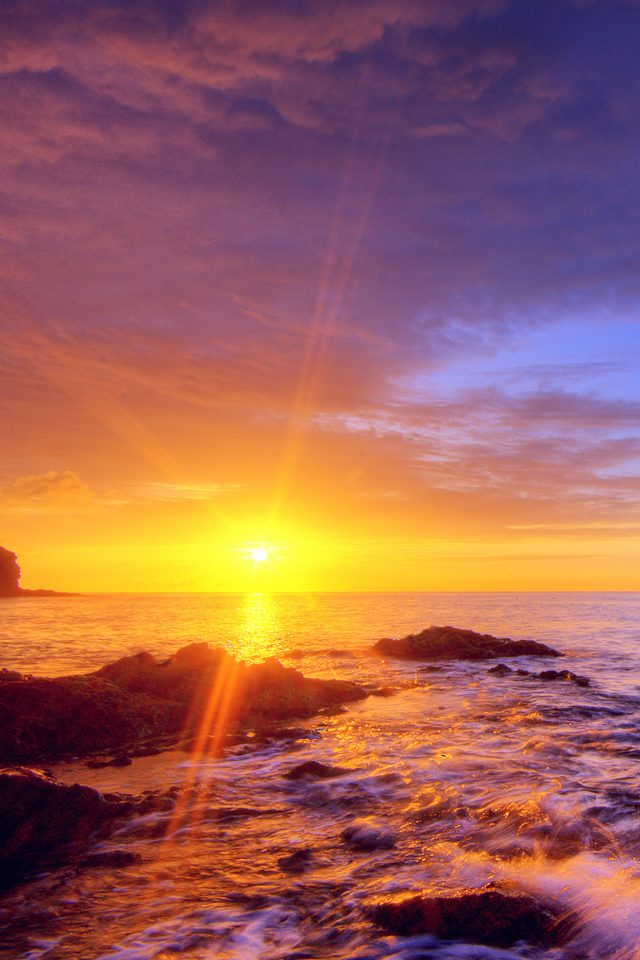 Sunshine Evening Sunset Beach Rock Nature Android wallpaper