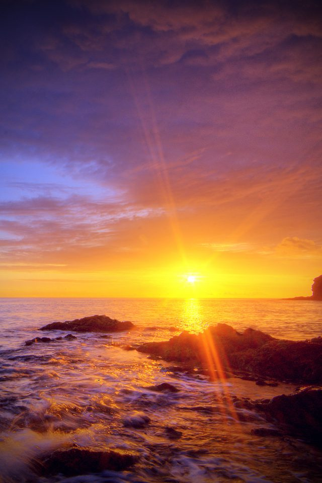 Sunshine Evening Sunset Beach Rock Nature Vignette Android wallpaper