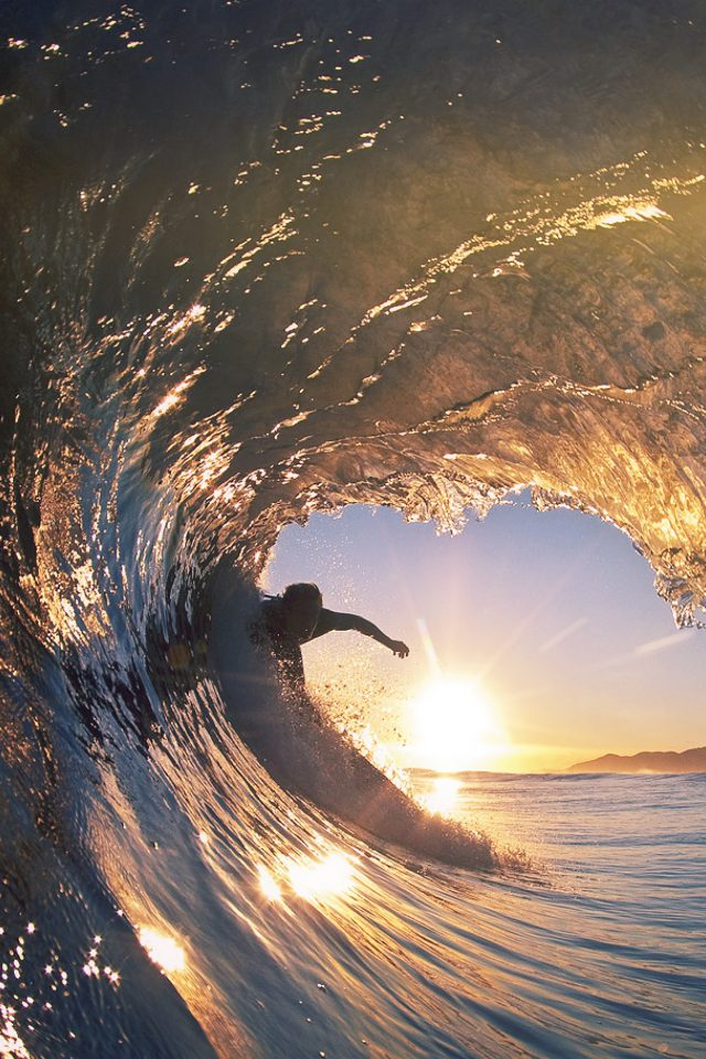 Surf Wave Sea Nature Sunshine Flare Android wallpaper