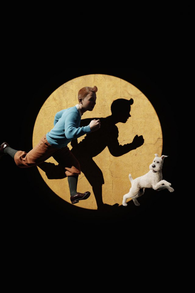Tintin 3d Art Dark Illustration Android wallpaper