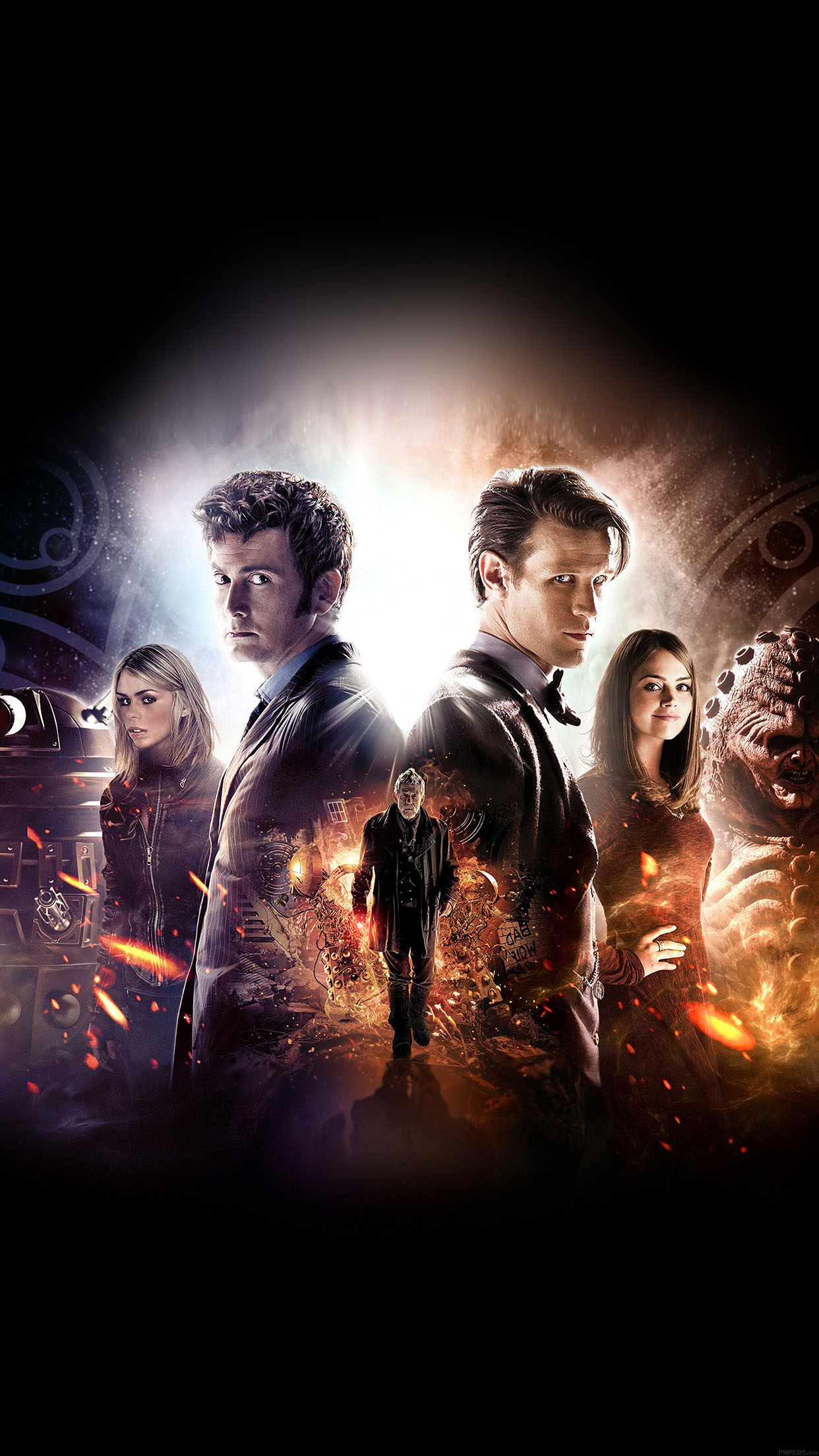 Wallpaper Doctor Who 50th Poster Film Face Android Wallpaper