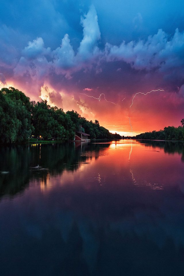 Wallpaper Lightening Reflected Lake Sea River Nature Android wallpaper