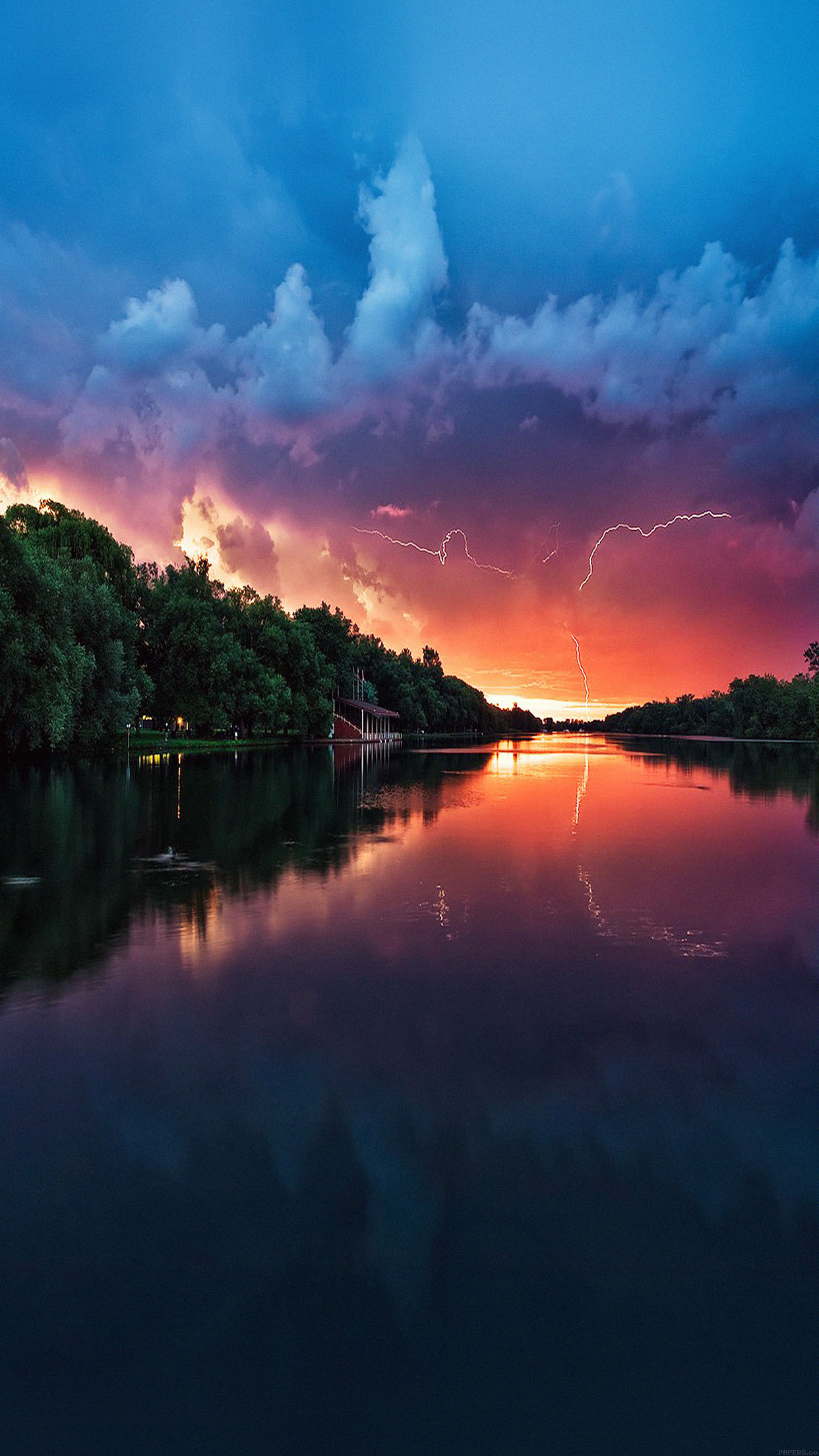 Wallpaper Lightening Reflected Lake Sea River Nature Android