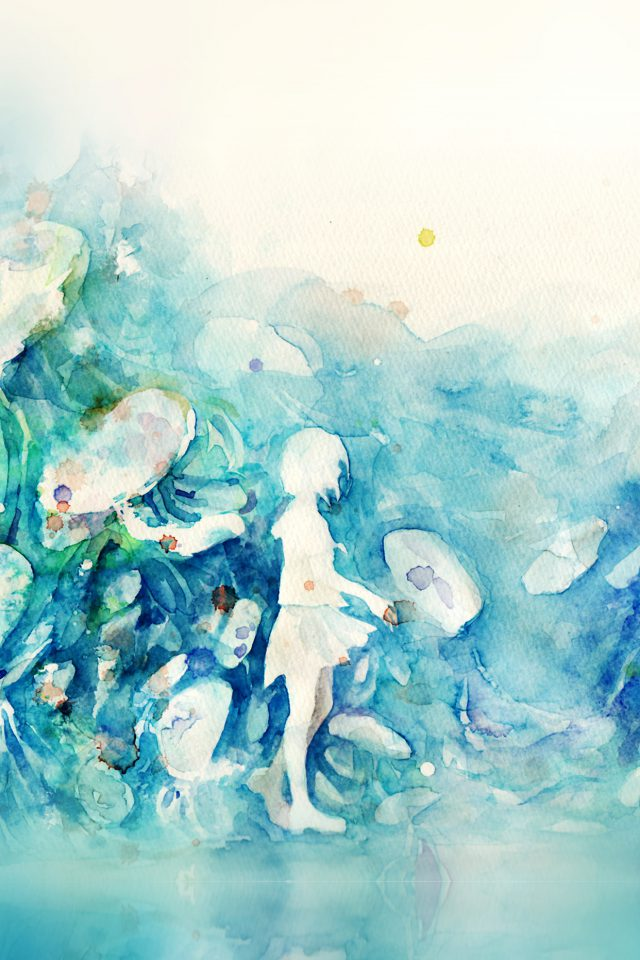 Watercolor Blue Girl Nature Art Illust Android wallpaper