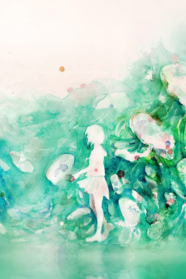 Watercolor Green Girl Nature Art Illust Android wallpaper